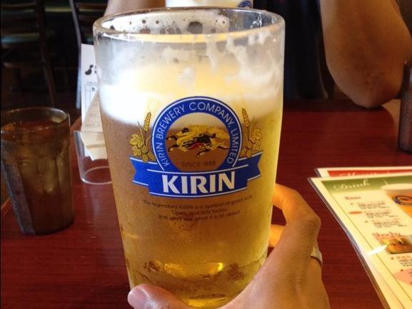Hoặc một cốc bia Kirin mát lạnh.