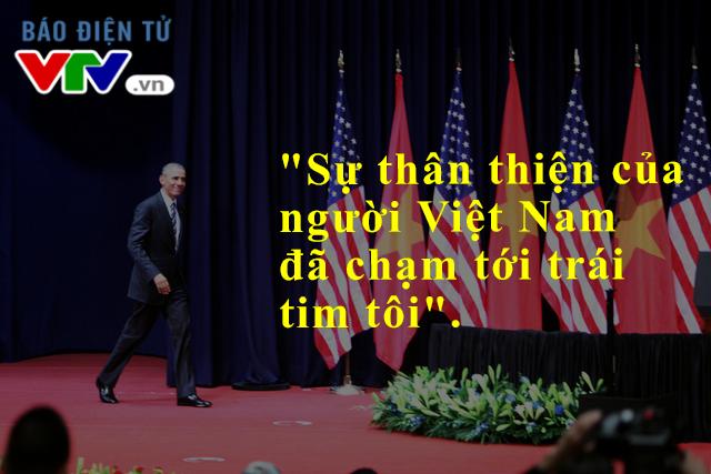 Trong phần đầu của bài phát biểu tại Trung tâm Hội nghị Quốc gia, Tổng thống Obama bày tỏ sự cảm kích với lòng hiếu khách của người Việt Nam