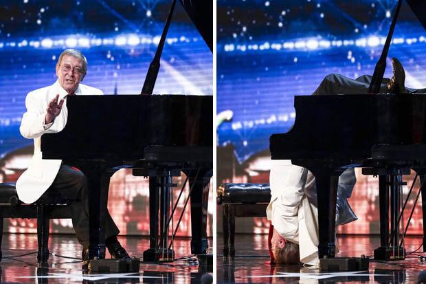Thí sinh Colin Henry biểu diễn chơi đàn piano bằng tư thế cắm đầu xuống đất. (Ảnh: ITV)