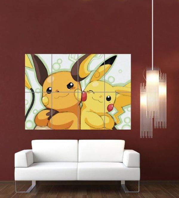 Bức tranh lớn in hình Pokémon treo trong nhà cũng là cách để thỏa niềm yêu thích.