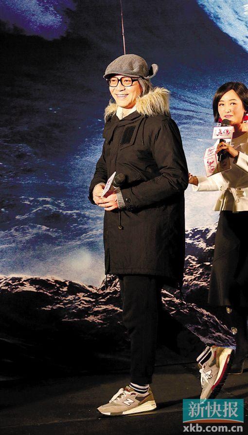 Châu Tinh Trì trong buổi họp báo tại Quảng Châu. Ảnh: XBK
