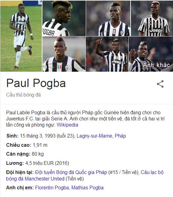 Bảng thông tin của Pogba trên Google Search