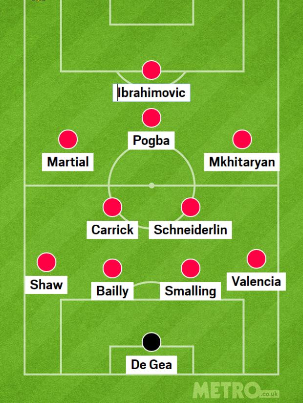 Man Utd với vơ đồ 4-2-3-1, Paul Pogba chơi với vai trò của một số 10 trên sân