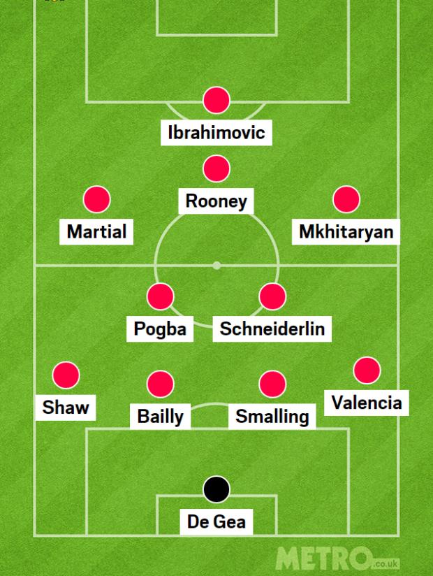 Man Utd chơi với sơ đồ 4-2-3-1, Paul Pogba có nhiệm vụ đánh chặn, phân phối bóng và phát động tấn công