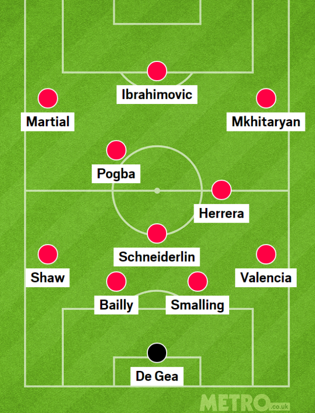 Man Utd với sơ đồ 4-3-3, Paul Pogba chơi với vai trò một tiền vệ tấn công
