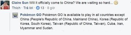 Pokémon GO trả lời bình luận của một người dùng trên trang Facebook