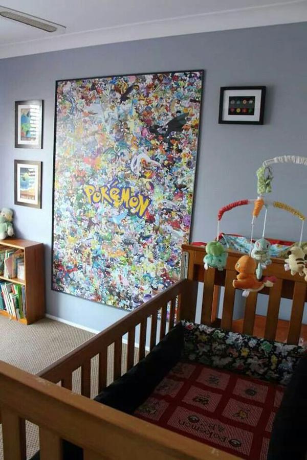Căn phòng dành cho bé yêu cũng có thể trở nên sinh động nhờ những chú Pokémon đáng yêu.