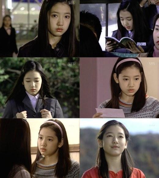 Ở tuổi 14. Park Shin Hye có vẻ đẹp trong trẻo, thơ ngây với khuôn mặt bầu bĩnh cùng đôi mắt to tròn đen nháy