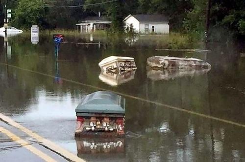 Quan tài trôi trên đường phố Denham Springs, khu vực gần thủ phủ bang Louisiana. (Ảnh: Carters)