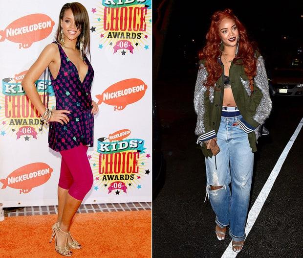 Khác với phong cách thời trang sành điệu như hiện nay, Rihanna của 10 năm trước có phần quê mùa và sến hơn dù nhan sắc của cô không có nhiều sự thay đổi.