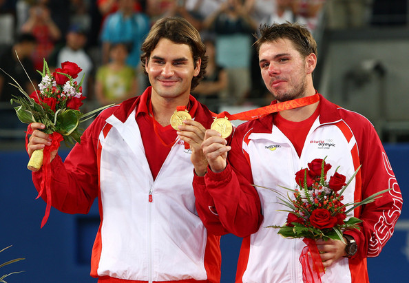 Hai nhà vô địch đôi nam năm 2008 là Roger Federer và Stan Wawrinka cùng vắng mặt tại Rio năm nay