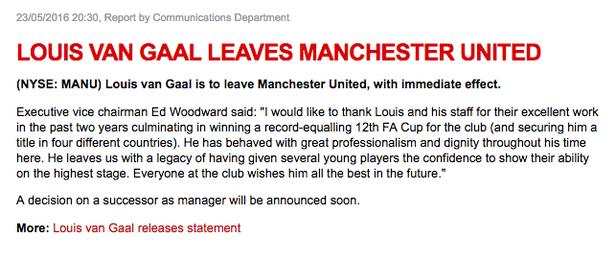 Thông báo chia tay HLV Van Gaal trên trang chủ của Man Utd