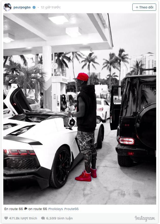 Bức ảnh có điểm nhấn là màu đỏ trên Instagram của Pogba