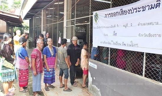Điểm bỏ phiếu của các dân tộc thiểu số ở Chiang Rai. (Ảnh: Khao Sod)