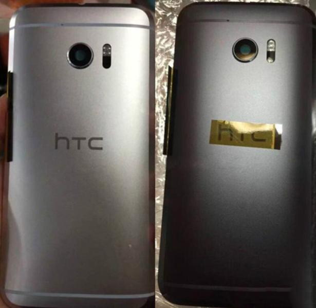 Mặt sau của HTC 10 phiên bản màu đen (trái) và HTC 10 phiên bản màu bạc (phải)