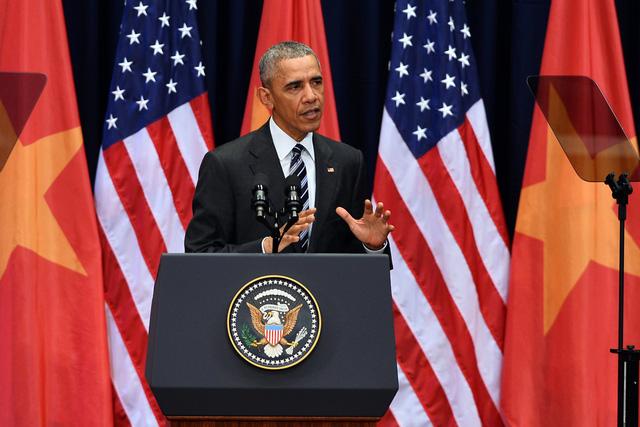 Tổng thống Obama đã có buổi phát biểu về quan hệ Việt Nam - Hoa Kỳ tại Trung tâm Hội nghị Quốc gia Mỹ Đình.