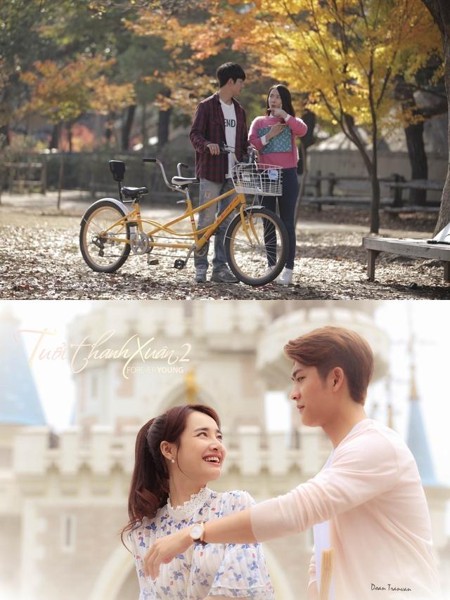 Ở phần đầu tiên của phim Tuổi thanh xuân, Kang Tae Oh và Nhã Phương được tạo hình khá giản dị, phù hợp với khoảng thời gian cả hai đang là sinh viên. Trong khi đó ở phần 2, cặp đôi chính được chăm chút hơn, cho thấy sự trưởng thành và chín chắn.
