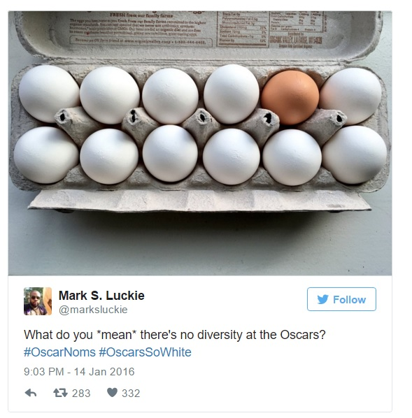 Người dùng Twitter Mark S.Luckie ám chỉ sự bất bình đẳng tại Oscar: Ý của bạn là gì khi nói tại Oscar không có sự phân biệt?