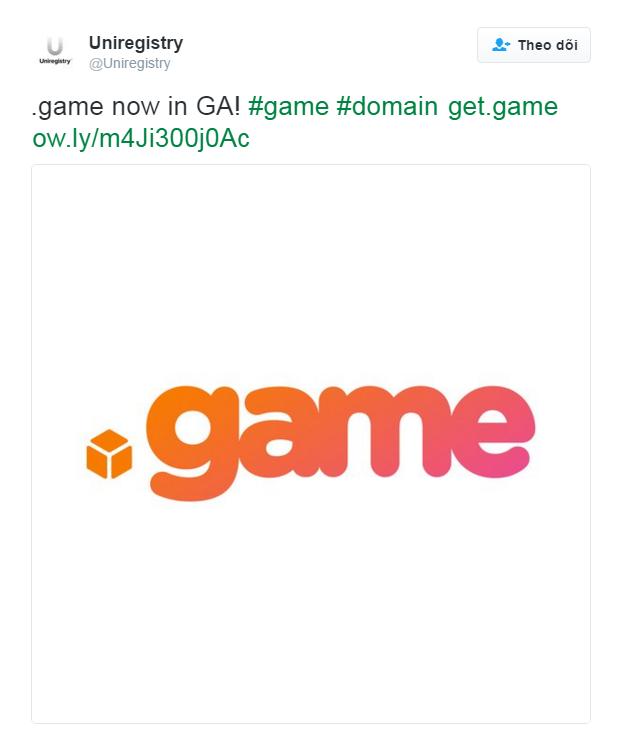 Uniregistry thông báo trên Twitter về việc tên miền .game chính thức ra mắt