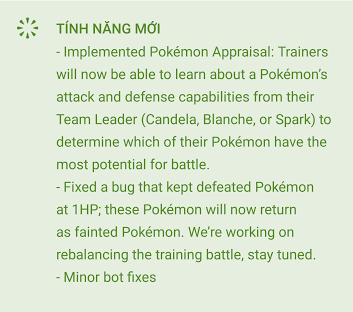 Thông báo về những cập nhật mới của Pokémon GO trên phiên bản Android