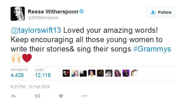 Reese Witherspoon ủng hộ Taylor Swift trên trang Twitter cá nhân