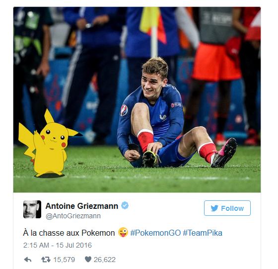 Tôi đang đi bắt Pokemon - Griezmann chia sẻ trên Twitter cá nhân.