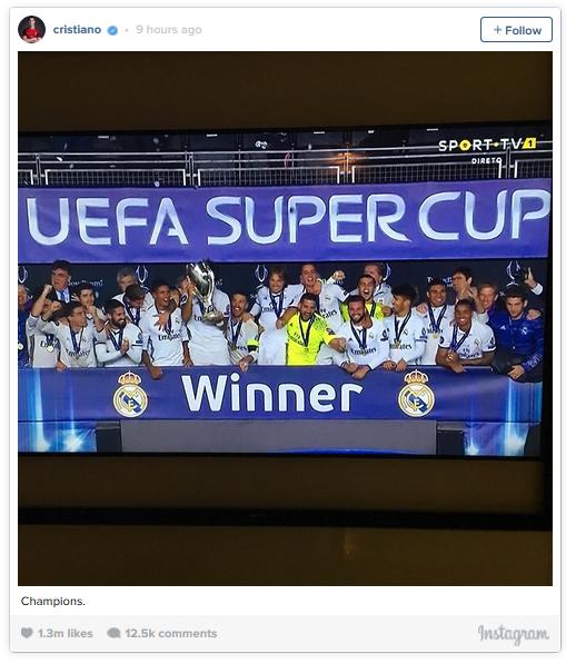 Bức hình được Ronaldo đăng tải đã thu hút sự chú ý của hàng triệu người.
