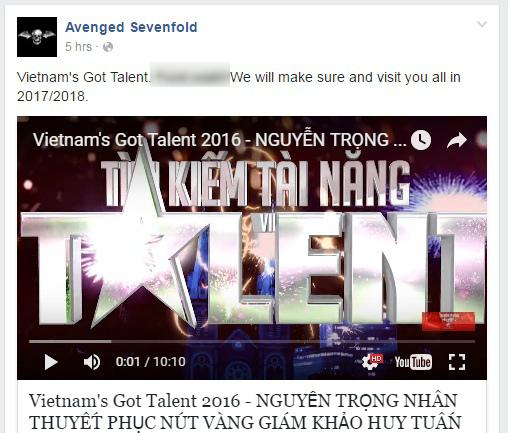 Đoạn video được chia sẻ trên fanpage của ban nhạc Avenged Sevenfold.