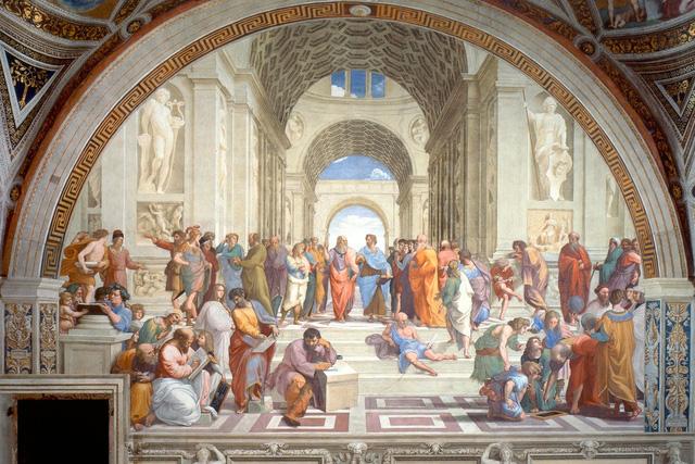 """Tác phẩm mà Nguyễn Tiến Thành chọn viết cảm tưởng là bức bích họa """"The School of Athens"""" của Raphael. Trong bức họa là rất nhiều triết gia của Hy Lạp."""