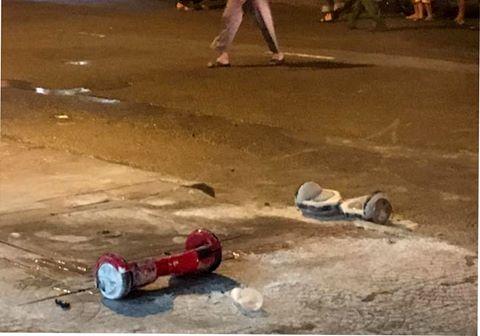 Hình ảnh xe điện cân bằng phát nổ tại TP Hồ Chí Minh được một người dân ghi lại