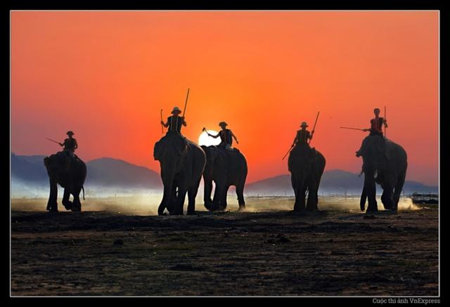 Việt Nam không chỉ có vẻ đẹp hùng vỹ từ cảnh quan thiên nhiên mà từ cả hình ảnh những con người bình thường trong sinh hoạt và cuộc sống hàng ngày. Khoảnh khắc những người dân tộc huấn luyện voi trong ánh chiều tà Tây Nguyên là một trong hành ngàn vẻ đẹp hùng vỹ đó. (Tác giả: Huỳnh Tấn Thăng)