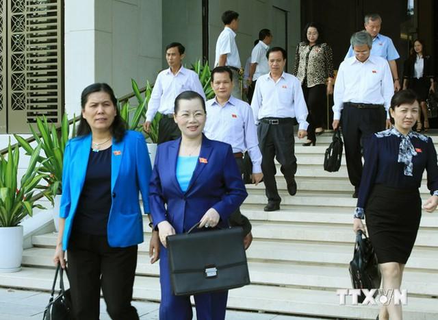 Đại biểu Quốc hội về dự Kỳ họp thứ tám, Quốc hội khóa XIII. (Ảnh: TTXVN)