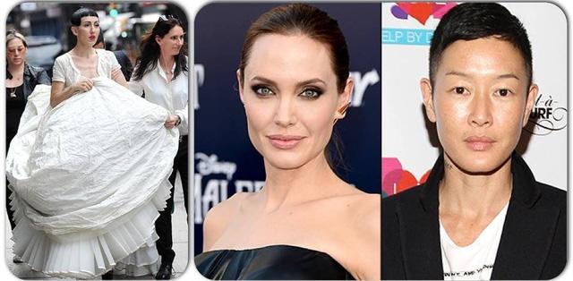 Michelle Harper (bên trái) với bộ váy cưới lớn trong tấm ảnh được công bố vào ngày hôm qua. Angelina Jolie và Jenny Shimizu. (Ảnh: Us Weekly)
