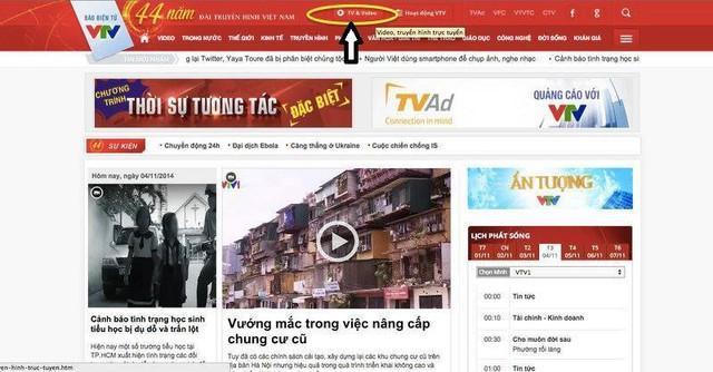 Độc giả truy cập vào trang vtv.vn rồi chọn mục TV & Video ở trên cùng