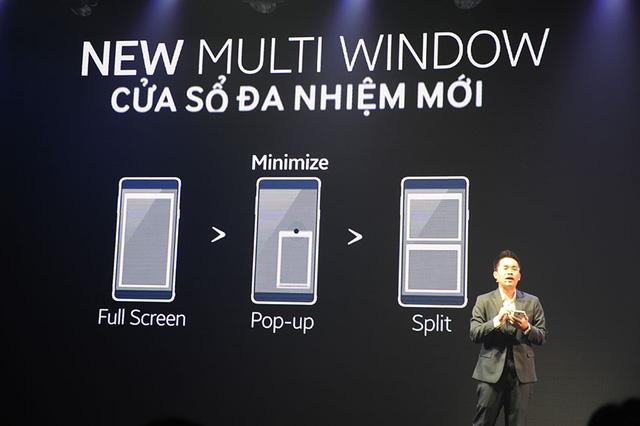 Màn hình 5,7 inch giúp tăng hiệu quả của chế độ cửa sổ đa nhiệm mới