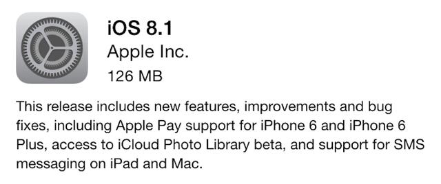 Thông tin về cập nhật mới trên iOS 8.1