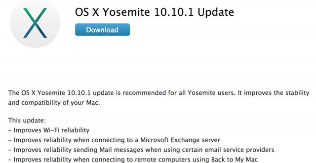 Những cải thiện trong bản cập nhật OS X 10.10.1
