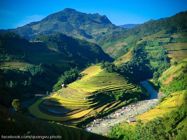Dòng Nậm Kim uốn khúc quanh những thửa ruộng nơi đây.