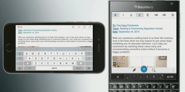 Màn hình của BlackBerry Passport vượt trội hơn hẳn màn hình iPhone dù để dọc hay xoay ngang