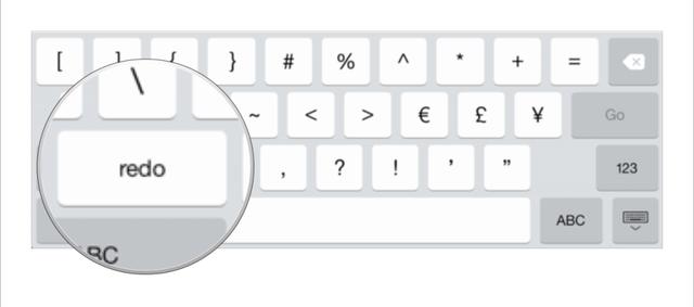 Nhấn phím #+= để chuyển sang bàn phím chứa nút Redo
