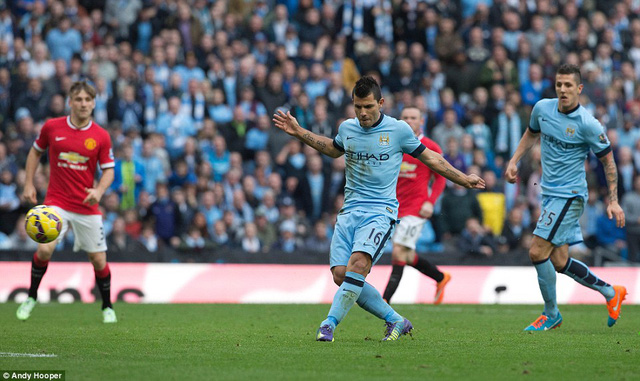 Aguero ghi bàn duy nhất kết liễu Man Utd.