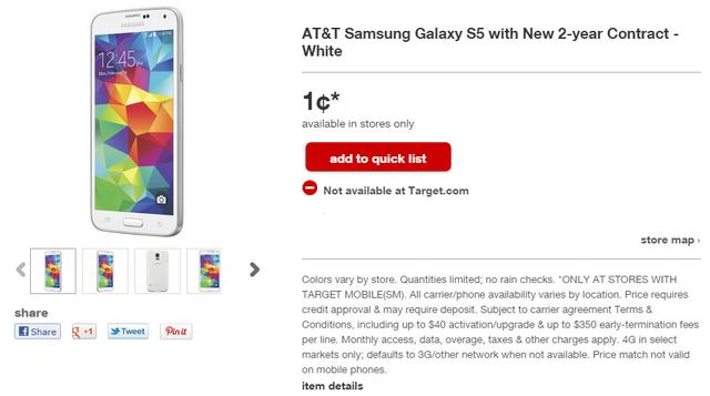 Target đặc biệt khuyến mãi Galaxy S5 với giá 1 cent