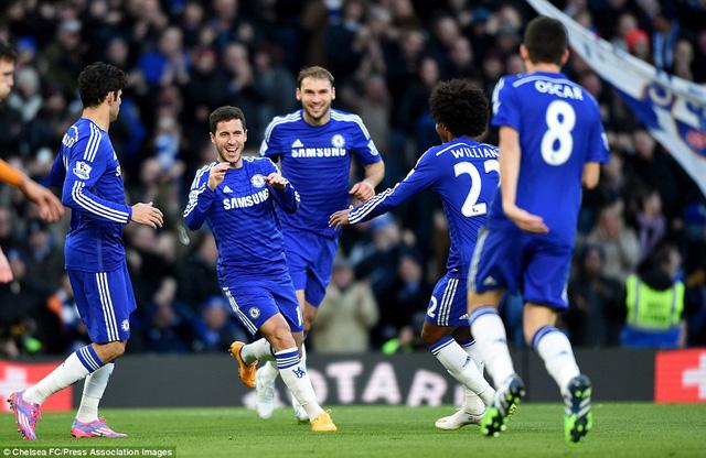 Hazard và Diego Costa lập công giúp Chelsea tiếp tục dẫn đầu EPL.