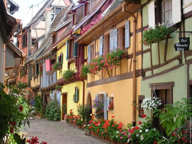 Kiến trúc nhà ở tại Colmar rất được lòng những du khách nhỏ tuổi.