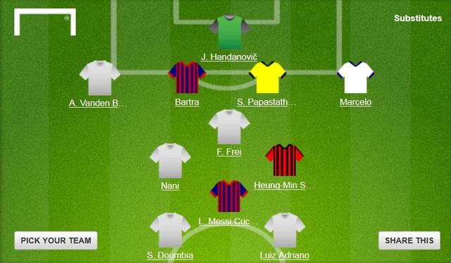 Đội hình tiêu biểu lượt trận thứ 4 vòng bảng Champions League (Theo Goal)