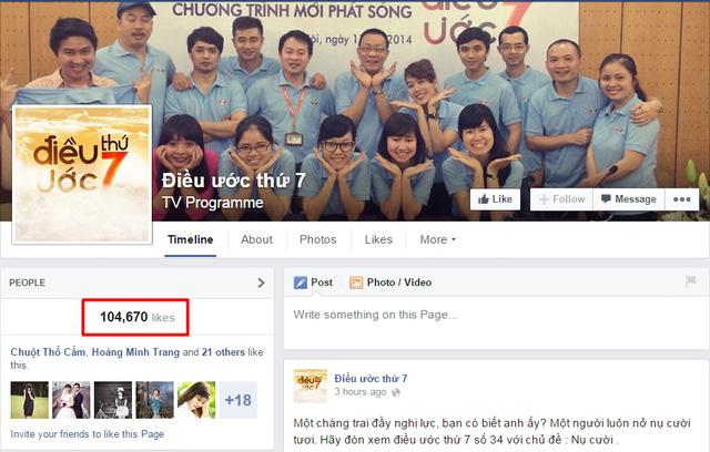 Trang Facebook của chương trình hiện có tới 104.670 lượt yêu thích