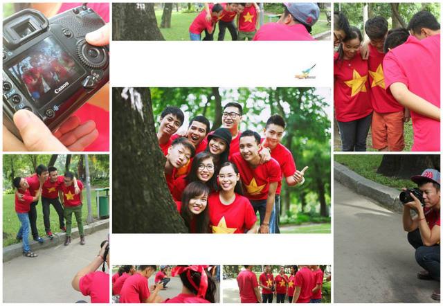 Các bạn trẻ miền Nam tiến hành chụp ảnh với hình áo đỏ sao vàng
