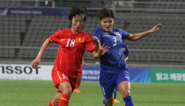 ĐT nữ Việt Nam (đỏ) hạ Thái Lan để lần đầu tiên vào bán kết ASIAD.