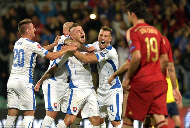 Sự vui mừng của các cầu thủ Slovakia