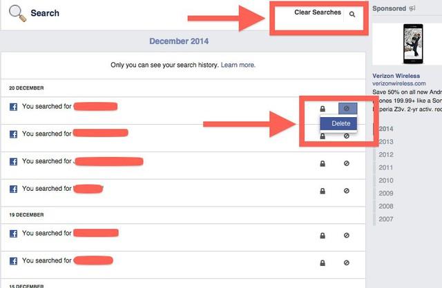 Chọn Clear Searches để xóa toàn bộ các mục tìm kiếm hoặc chọn Delete để xóa từng mục tìm kiếm